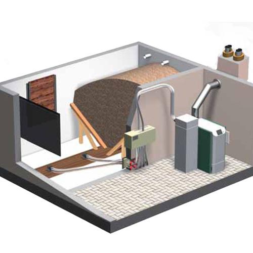 Doprema peleta modularnim sustavom  4-točkasto usisavanja peleta u dnevni spremnik