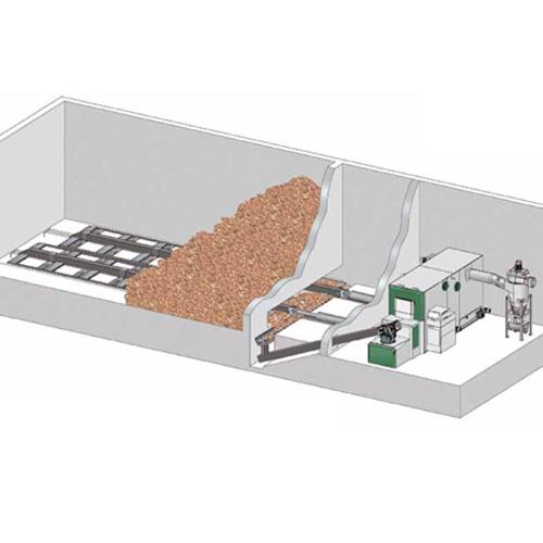 Sustav dopreme sječke/peleta pomičnim čeličnim pločama na hidro pogon