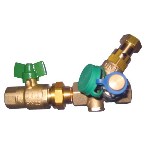 HERZ-ov graničnik temperature cirkulacijskog  voda namijenjen priključcima na daljinska grijanja  s kuglastom slavinom